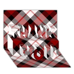 Smart Plaid Red Thank You 3d Greeting Card (7x5)