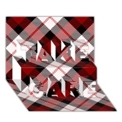 Smart Plaid Red Take Care 3d Greeting Card (7x5)