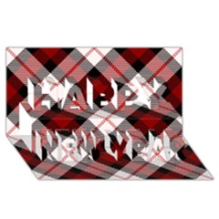 Smart Plaid Red Happy New Year 3D Greeting Card (8x4)