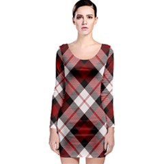 Smart Plaid Red Long Sleeve Bodycon Dresses