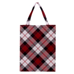 Smart Plaid Red Classic Tote Bags