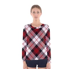 Smart Plaid Red Women s Long Sleeve T-shirts