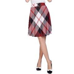 Smart Plaid Red A-Line Skirts