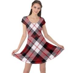 Smart Plaid Red Cap Sleeve Dresses