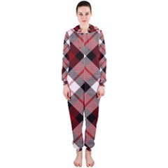 Smart Plaid Red Hooded Jumpsuit (Ladies)