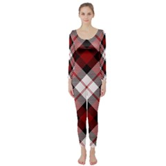 Smart Plaid Red Long Sleeve Catsuit
