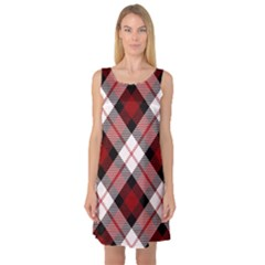 Smart Plaid Red Sleeveless Satin Nightdresses