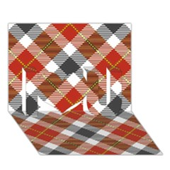 Smart Plaid Warm Colors I Love You 3D Greeting Card (7x5)