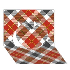 Smart Plaid Warm Colors Heart 3D Greeting Card (7x5)