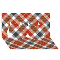 Smart Plaid Warm Colors Twin Hearts 3D Greeting Card (8x4)