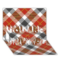 Smart Plaid Warm Colors You Are Invited 3d Greeting Card (7x5)