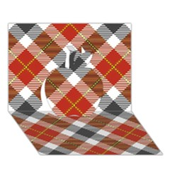 Smart Plaid Warm Colors Apple 3D Greeting Card (7x5)