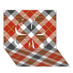Smart Plaid Warm Colors Clover 3D Greeting Card (7x5)