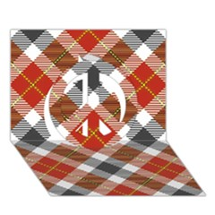 Smart Plaid Warm Colors Peace Sign 3d Greeting Card (7x5)
