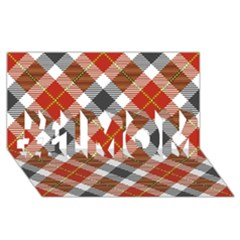 Smart Plaid Warm Colors #1 Mom 3d Greeting Cards (8x4)