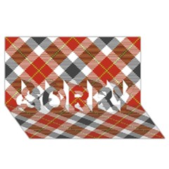 Smart Plaid Warm Colors SORRY 3D Greeting Card (8x4)