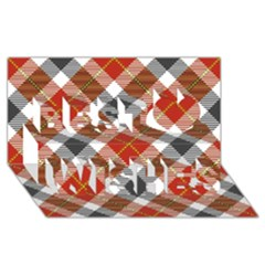 Smart Plaid Warm Colors Best Wish 3d Greeting Card (8x4)