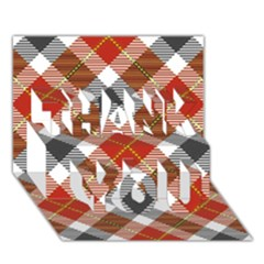 Smart Plaid Warm Colors THANK YOU 3D Greeting Card (7x5)