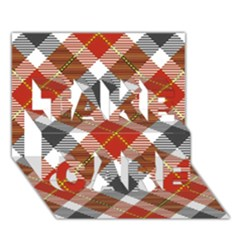 Smart Plaid Warm Colors Take Care 3d Greeting Card (7x5)