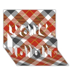 Smart Plaid Warm Colors You Did It 3d Greeting Card (7x5)