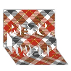 Smart Plaid Warm Colors Get Well 3d Greeting Card (7x5)