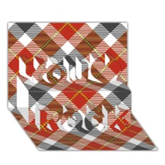 Smart Plaid Warm Colors You Rock 3D Greeting Card (7x5)