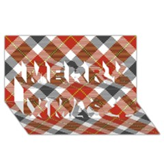 Smart Plaid Warm Colors Merry Xmas 3d Greeting Card (8x4)