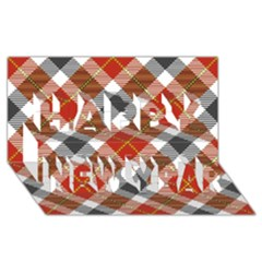 Smart Plaid Warm Colors Happy New Year 3d Greeting Card (8x4)