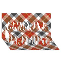 Smart Plaid Warm Colors Congrats Graduate 3D Greeting Card (8x4)