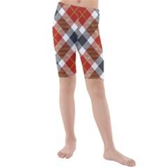 Smart Plaid Warm Colors Kid s swimwear