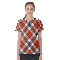 Smart Plaid Warm Colors Women s Cotton Tees