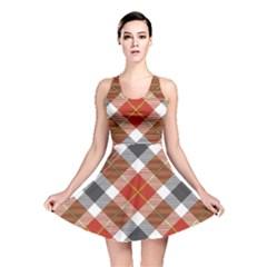 Smart Plaid Warm Colors Reversible Skater Dresses