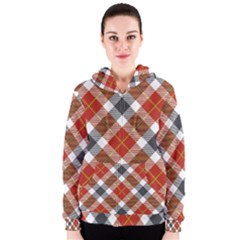 Smart Plaid Warm Colors Women s Zipper Hoodies