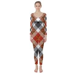 Smart Plaid Warm Colors Long Sleeve Catsuit