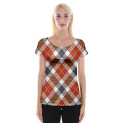 Smart Plaid Warm Colors Women s Cap Sleeve Top