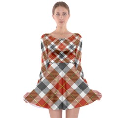Smart Plaid Warm Colors Long Sleeve Skater Dress