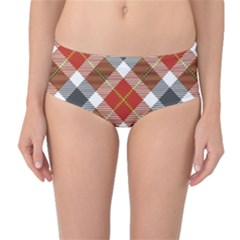 Smart Plaid Warm Colors Mid-Waist Bikini Bottoms