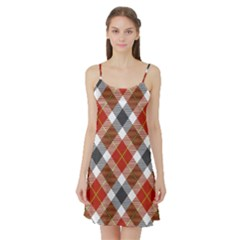 Smart Plaid Warm Colors Satin Night Slip