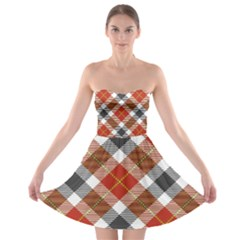 Smart Plaid Warm Colors Strapless Bra Top Dress