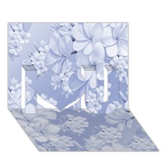 Delicate Floral Pattern,blue  I Love You 3D Greeting Card (7x5)