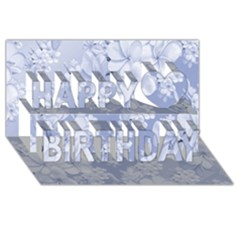 Delicate Floral Pattern,blue  Happy Birthday 3D Greeting Card (8x4)