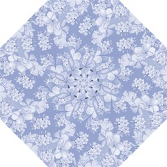 Delicate Floral Pattern,blue  Hook Handle Umbrellas (Medium)