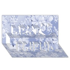 Delicate Floral Pattern,blue  Best Friends 3D Greeting Card (8x4)
