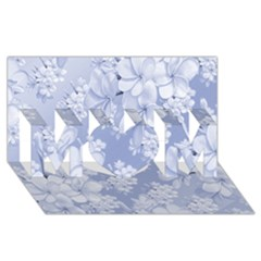 Delicate Floral Pattern,blue  MOM 3D Greeting Card (8x4)