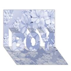 Delicate Floral Pattern,blue  BOY 3D Greeting Card (7x5)