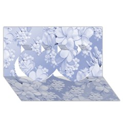 Delicate Floral Pattern,blue  Twin Hearts 3D Greeting Card (8x4)
