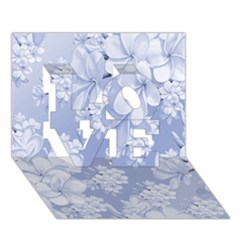 Delicate Floral Pattern,blue  Love 3d Greeting Card (7x5)