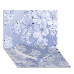Delicate Floral Pattern,blue  Heart Bottom 3D Greeting Card (7x5)