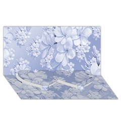 Delicate Floral Pattern,blue  Twin Heart Bottom 3d Greeting Card (8x4)