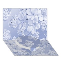 Delicate Floral Pattern,blue  Circle Bottom 3d Greeting Card (7x5)